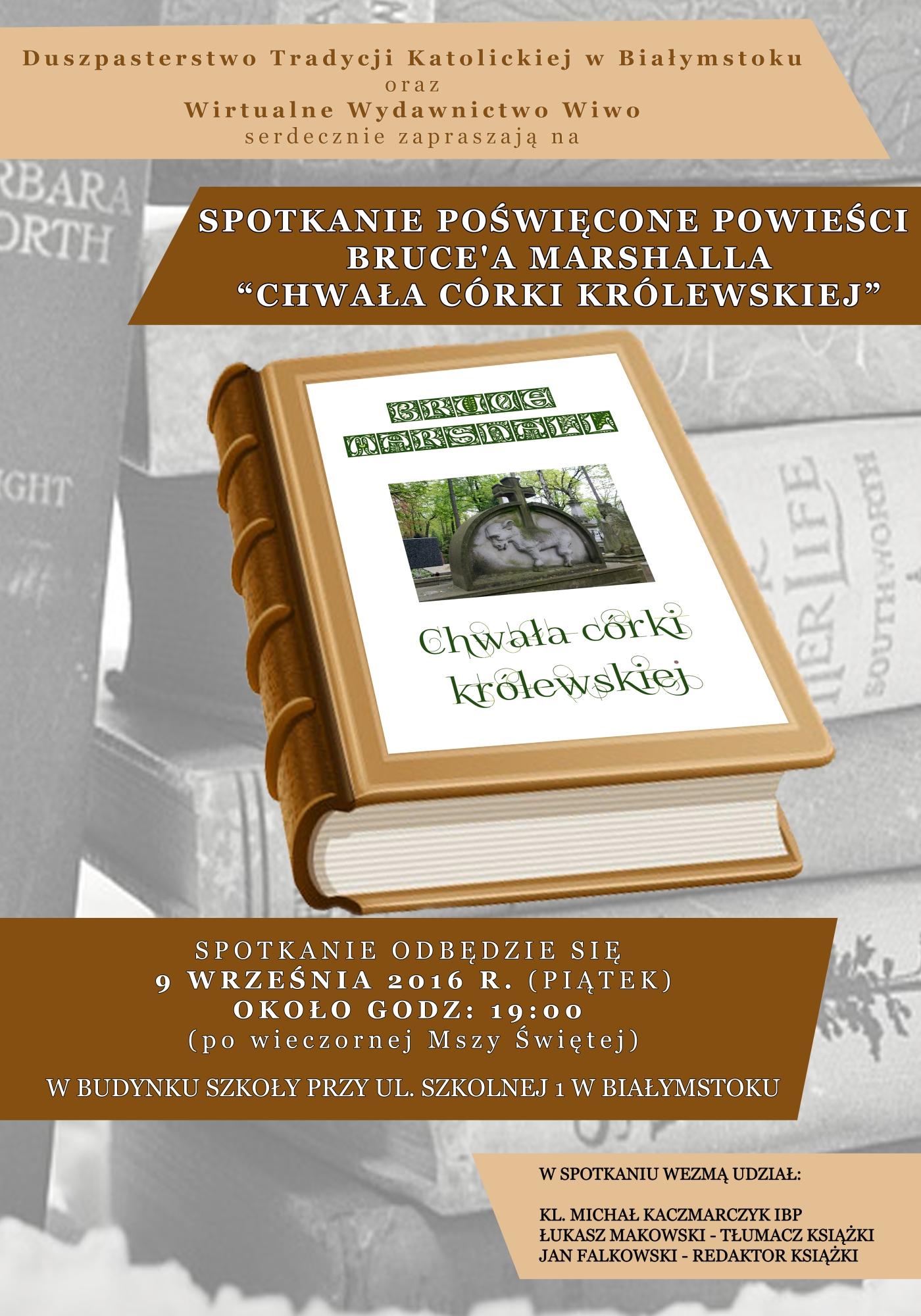 Plakat spotkanie - BRUCE MARSHALL ww